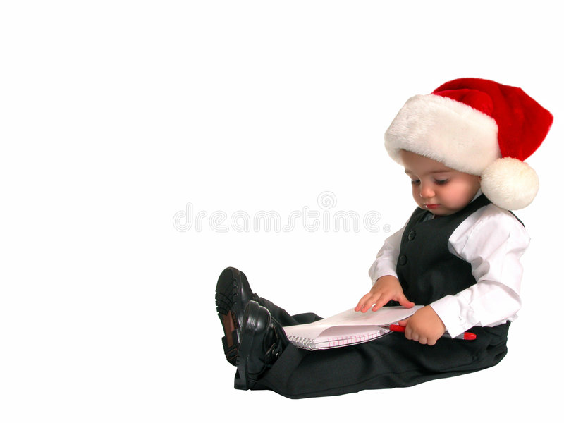 Kleine Mann-Serie: Weihnachtsliste stockbilder