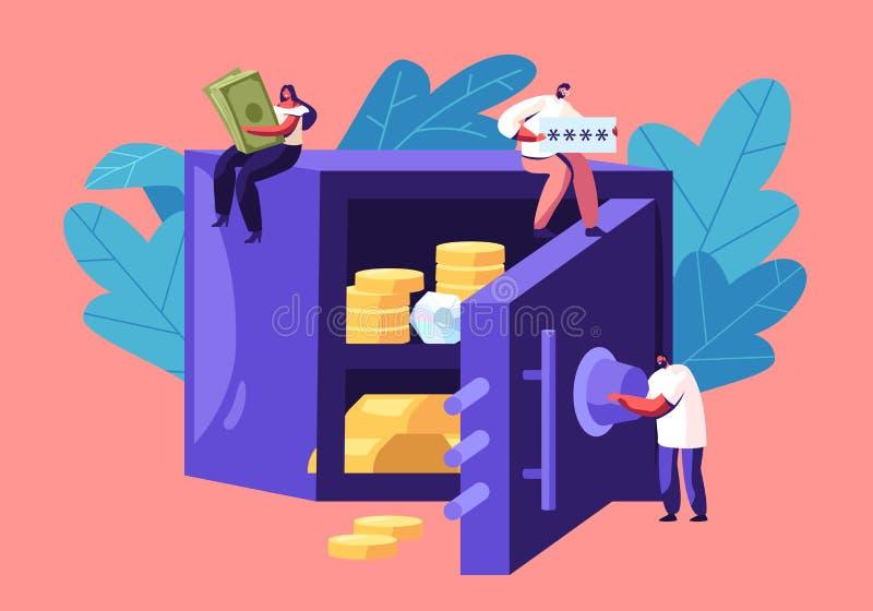 Kleine Mann-und Frauen-Charaktere, die herum enorme goldene Rechnungen, Passwort des Bank-Safes voll vom Geld und Diamanten halte vektor abbildung