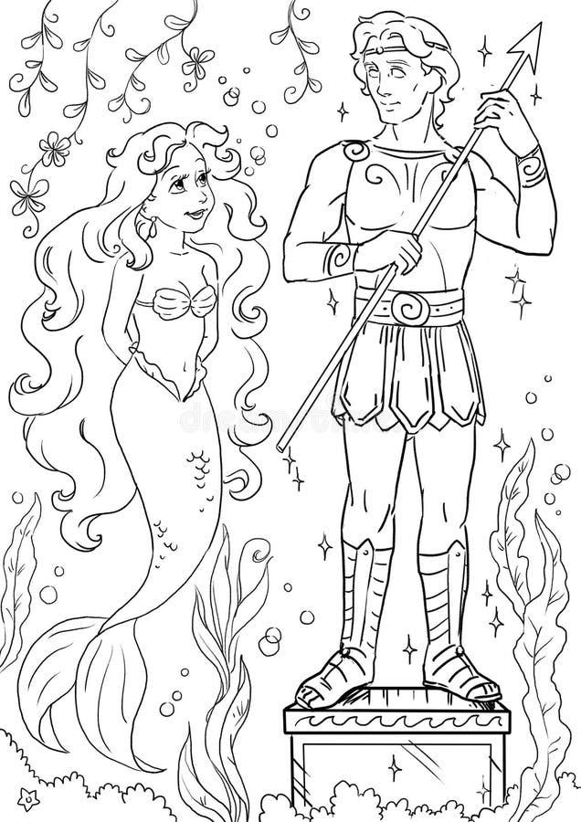 Kleine Meerjungfrau nahe Skulptur eines hübschen jungen Mannes in ihrem Unterwassergarten vektor abbildung