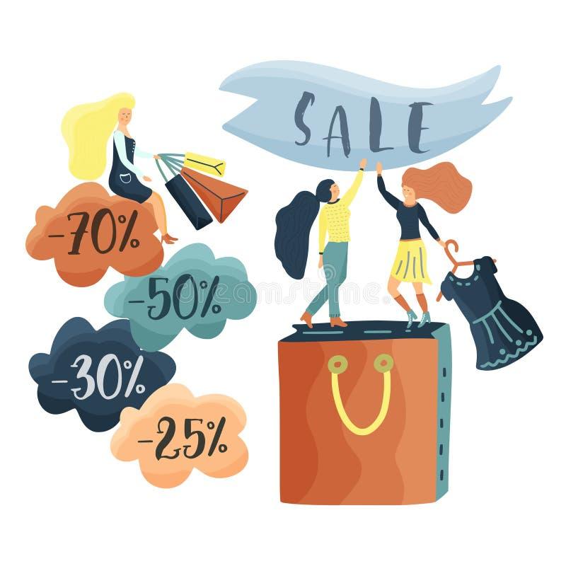 Kleine meisjeschacacters genieten van winkelend stock illustratie