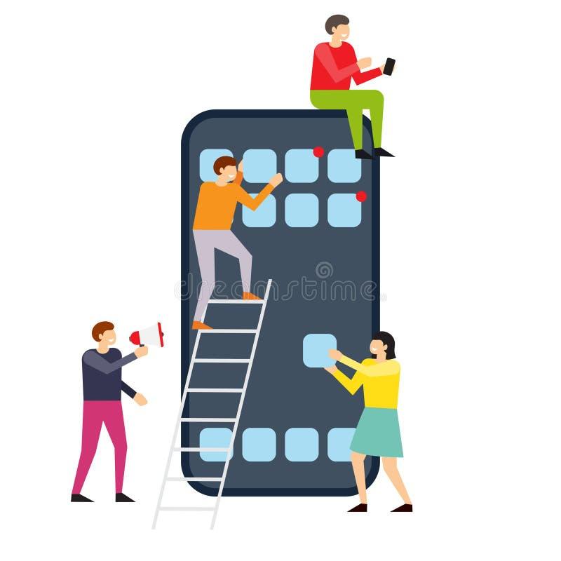 Kleine mensen die interface op smartphone creëren royalty-vrije illustratie