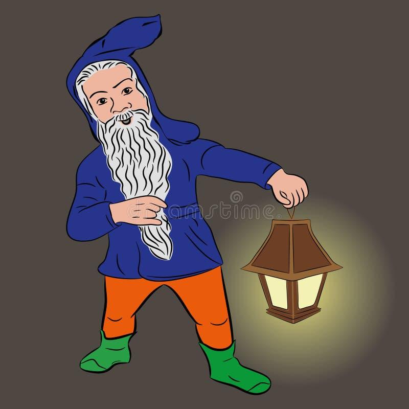 Kleine mensen Grappige dwerg met een lantaarn, vector stock illustratie