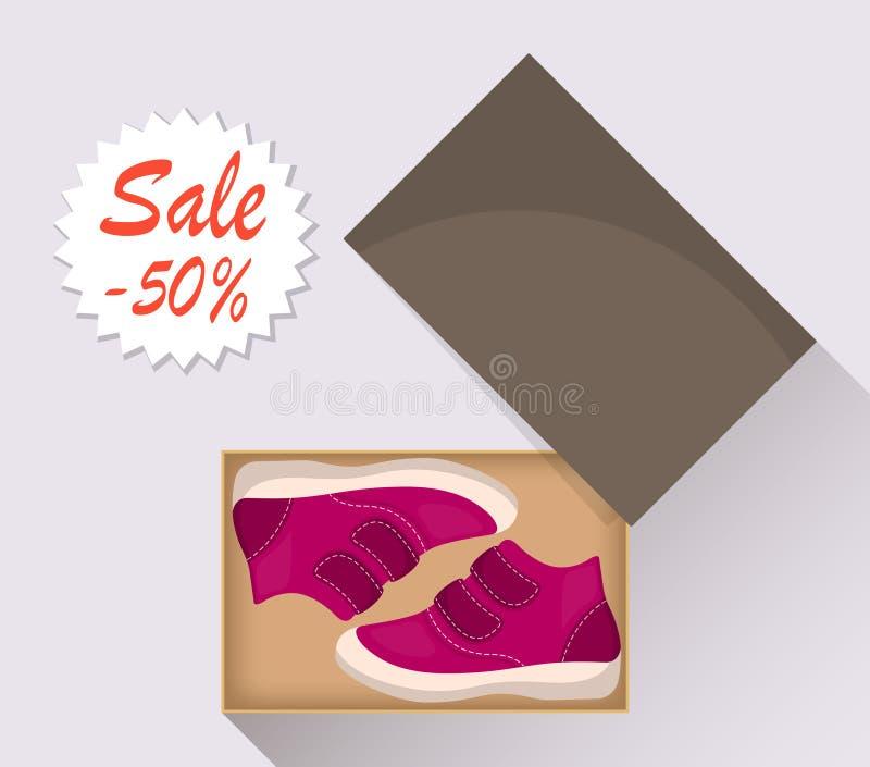 Kleine nette Babyschuhe im Kasten, Seitenansicht Verkauf mit einem Rabatt von 50 Prozent Zufällige rosa Stiefel des Kind s Illust lizenzfreie abbildung