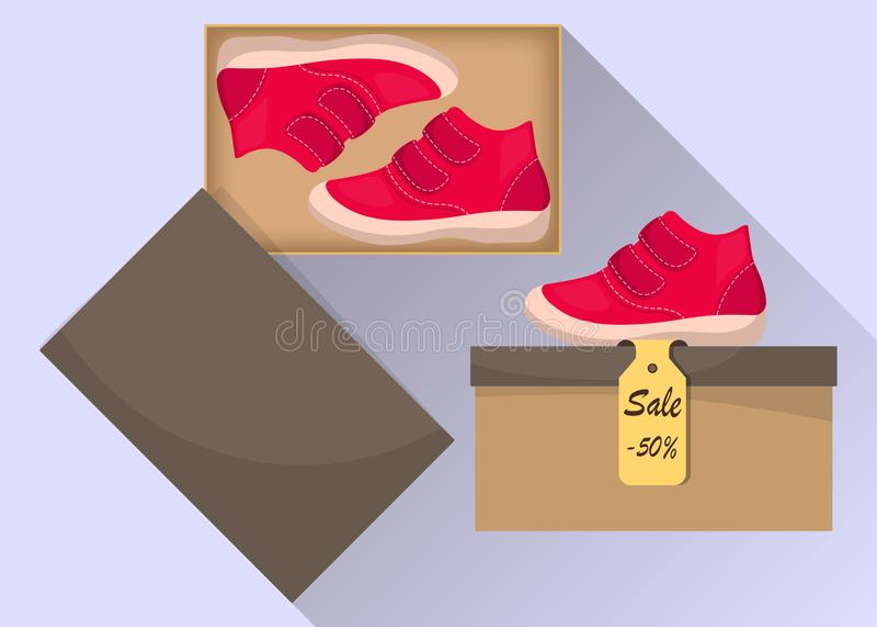 Kleine nette Babyschuhe im Kasten, Seitenansicht Verkauf mit einem Rabatt von 50 Prozent Zufällige rote Stiefel des Kind s Illust lizenzfreie abbildung