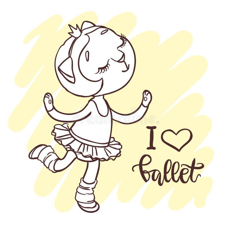 Kleine nette Ballerina im Ballettballettröckchen Aufschrift: ich liebe Ballett vektor abbildung