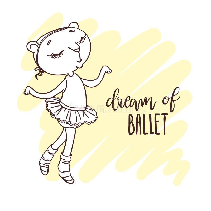 Kleine nette Ballerina im Ballettballettröckchen Aufschrift: Traum des Balls stock abbildung