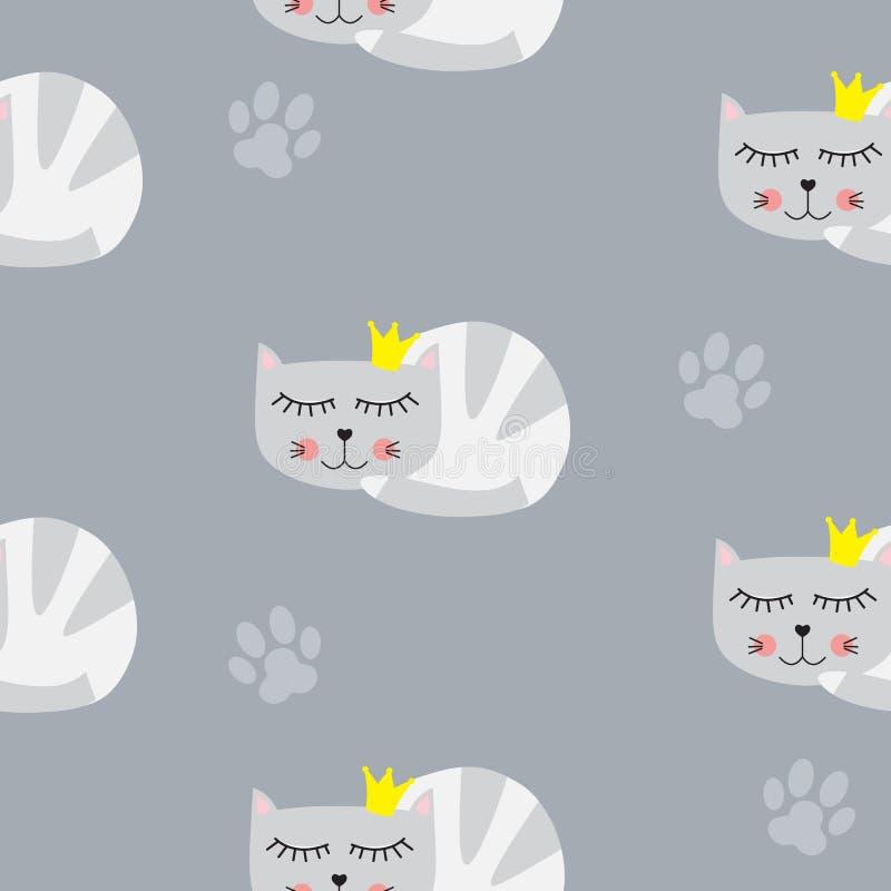 Kleine nette Cat Princess Seamless Pattern Background-Vektor-Illustration lizenzfreie abbildung