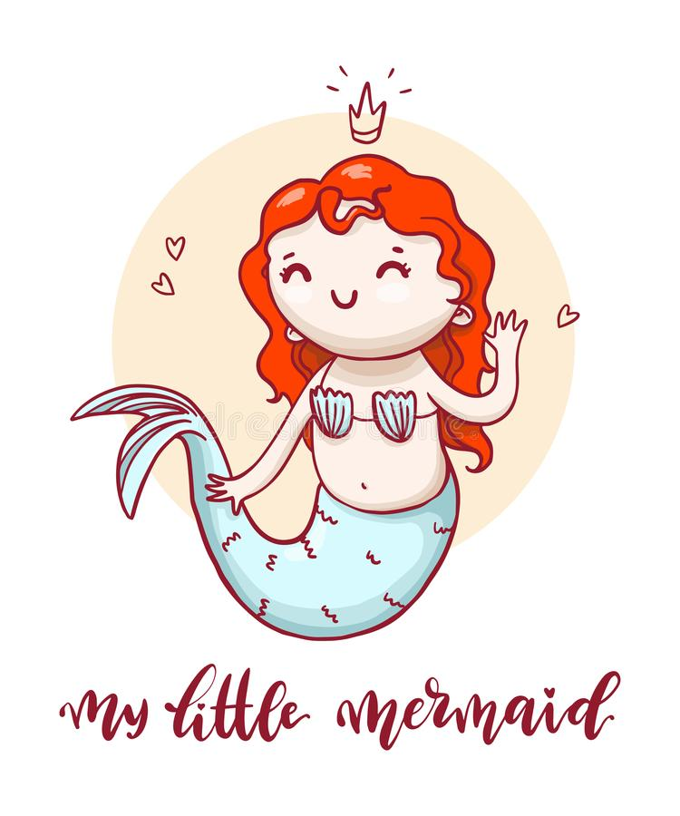 Kleine nette Meerjungfrau mit kalligraphischer Aufschrift vektor abbildung