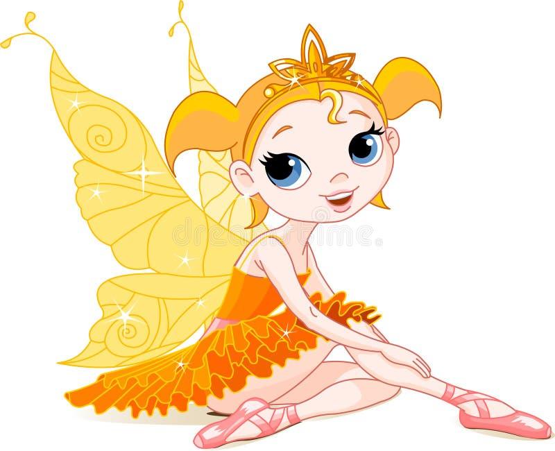 Kleine orange feenhafte Ballerina vektor abbildung