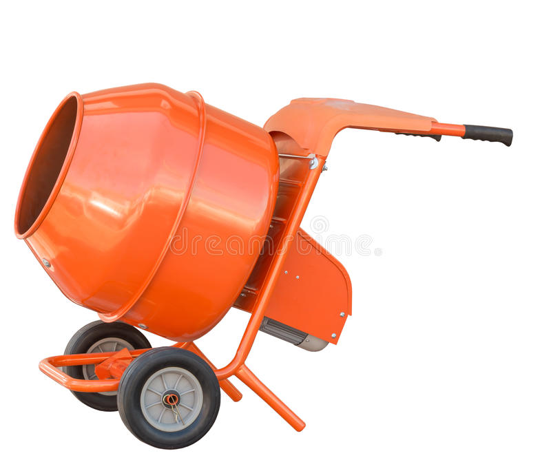 Kleine oranje concrete mixermachine stock afbeelding