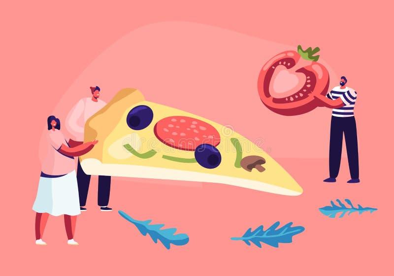 Kleine Paare des Mannes und der weiblichen Figuren halten sehr groß Stück Pizza mit Oliven, Pilze und Wurst, Mann holen Tomate vektor abbildung