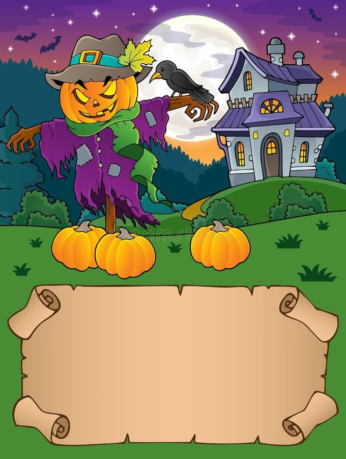 Kleine perkament en Halloween-vogelverschrikker vector illustratie