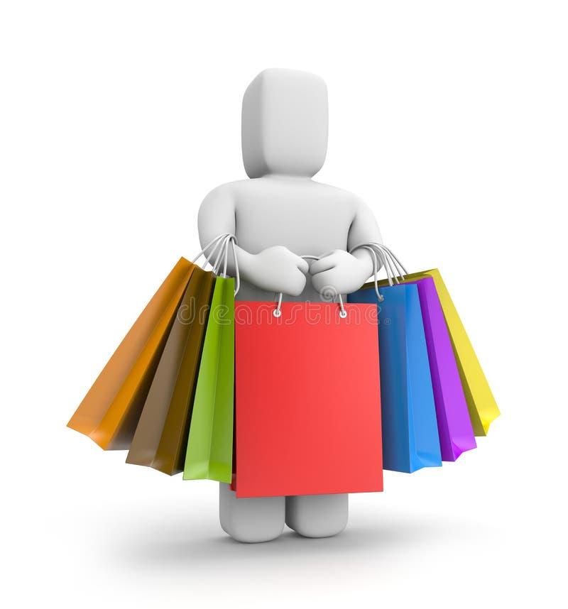 kleine Person 3d mit Los Einkaufstaschen vektor abbildung
