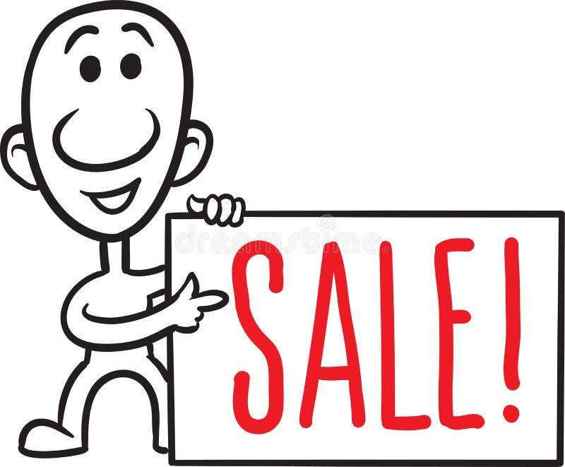 Kleine Person des Gekritzels - mit Verkaufsanschlagtafel stock abbildung