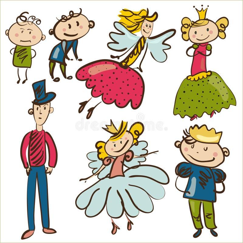 Kleine personages van magische koninkrijk geïsoleerde illustratio stock illustratie