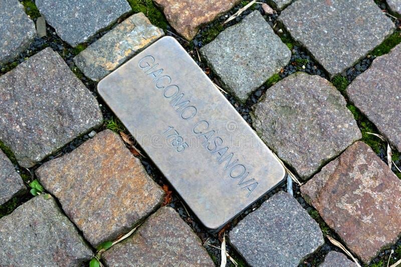 Kleine plaque die Giacomo Casanova herdenken royalty-vrije stock afbeelding