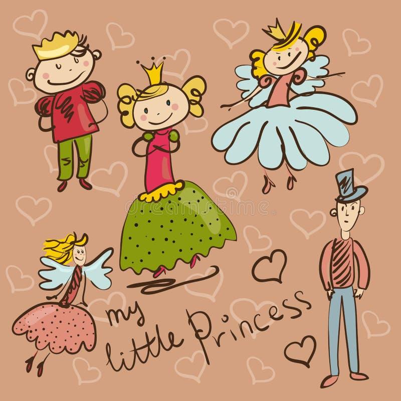 Kleine Prinzessin und ihre Gesellschaft übergeben Zeichnungsillustration stock abbildung