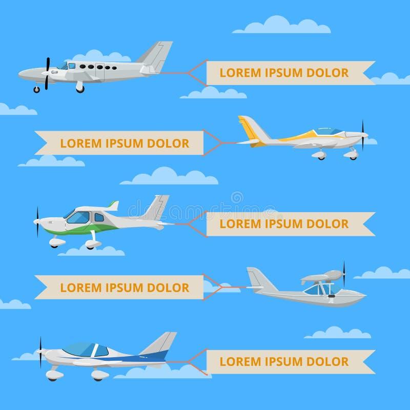 Kleine propellervliegtuigen met banners in hemel vector illustratie