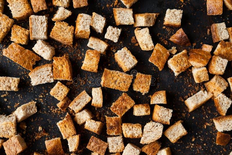 Kleine Quadrate des Brotes, selbst gemachte Croutons stockbild
