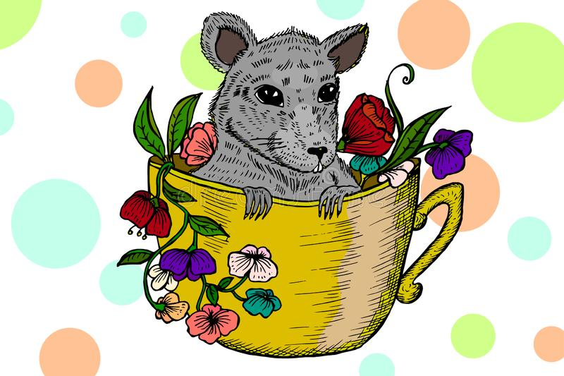 Kleine Ratte in einer Schale Hand gezeichnete Abbildung vektor abbildung