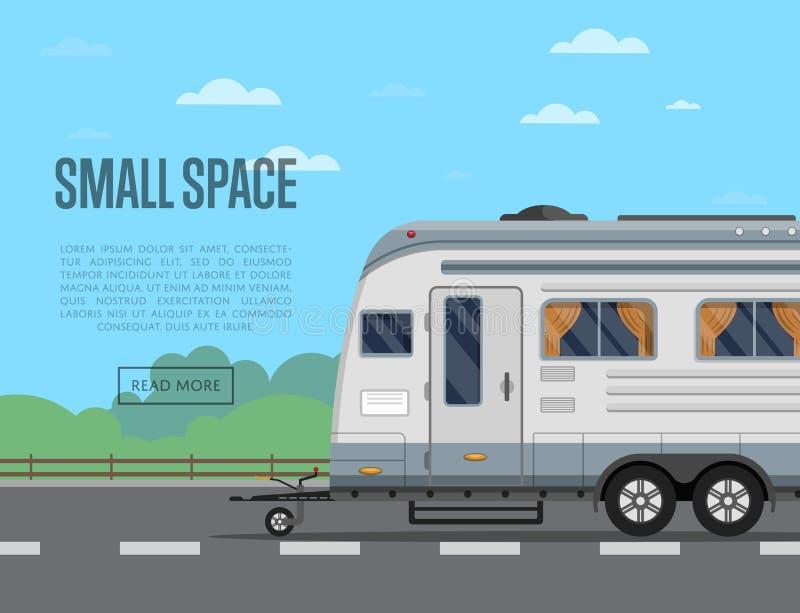 Kleine reis ruimteaffiche met het kamperen aanhangwagen vector illustratie