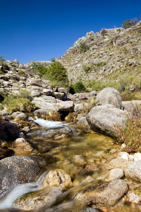 Kleine rivier bij de berg stock afbeeldingen