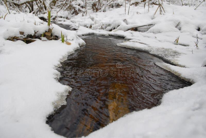 Kleine rivier bij de winter royalty-vrije stock foto's