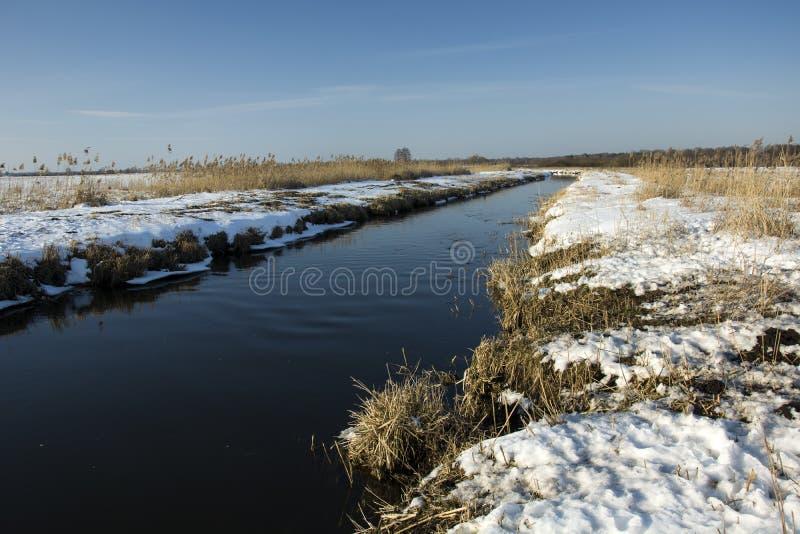 Kleine rivier in een de winterlandschap royalty-vrije stock foto
