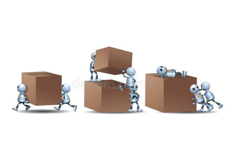 Kleine robots die op doos spelen royalty-vrije illustratie