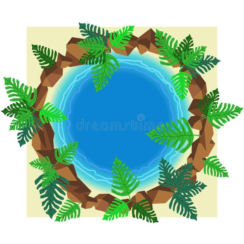Kleine ronde vijver met tropische installatie en stenen in hoogste mening Decoratieve pool met bladeren van monstera stock illustratie