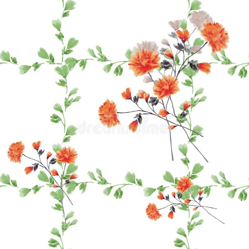 Kleine Rote Blumen Des Nahtlosen Musters Und Blumensträuße Und Grüne ...