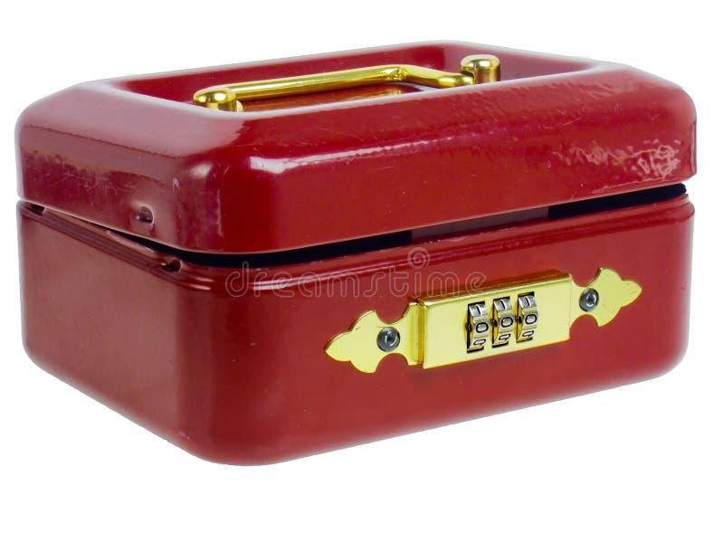 Kleine rote Geldkassette stockfoto