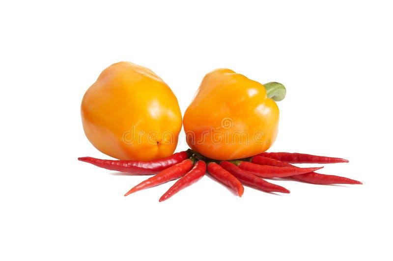 Kleine rote Pfeffer mit Gelb zwei auf einem Weiß lizenzfreies stockfoto