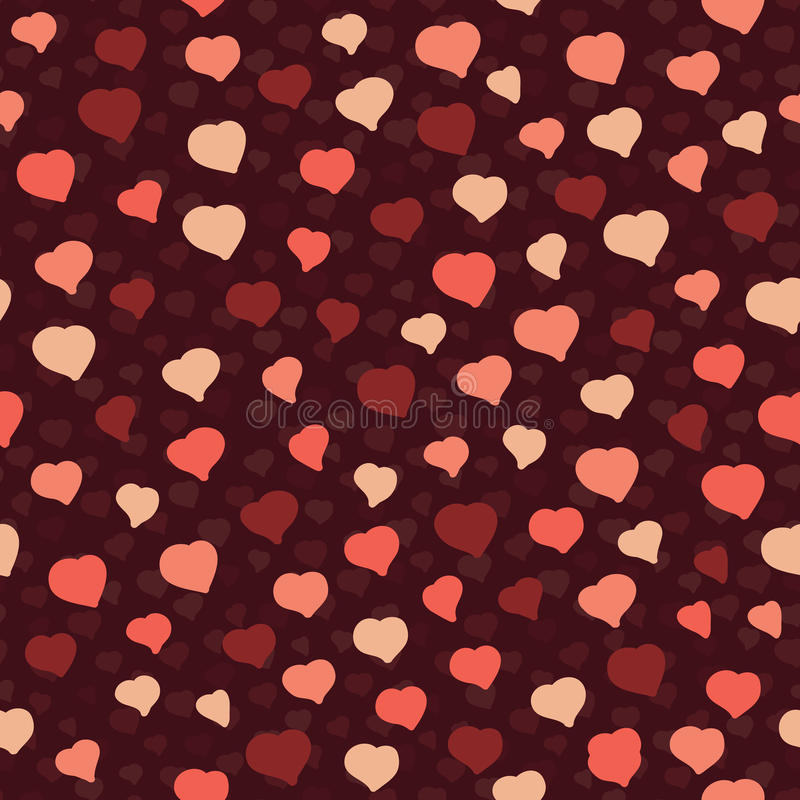 Kleine Roze Harten op een Bruine Achtergrond Naadloos vectorpatroon vector illustratie