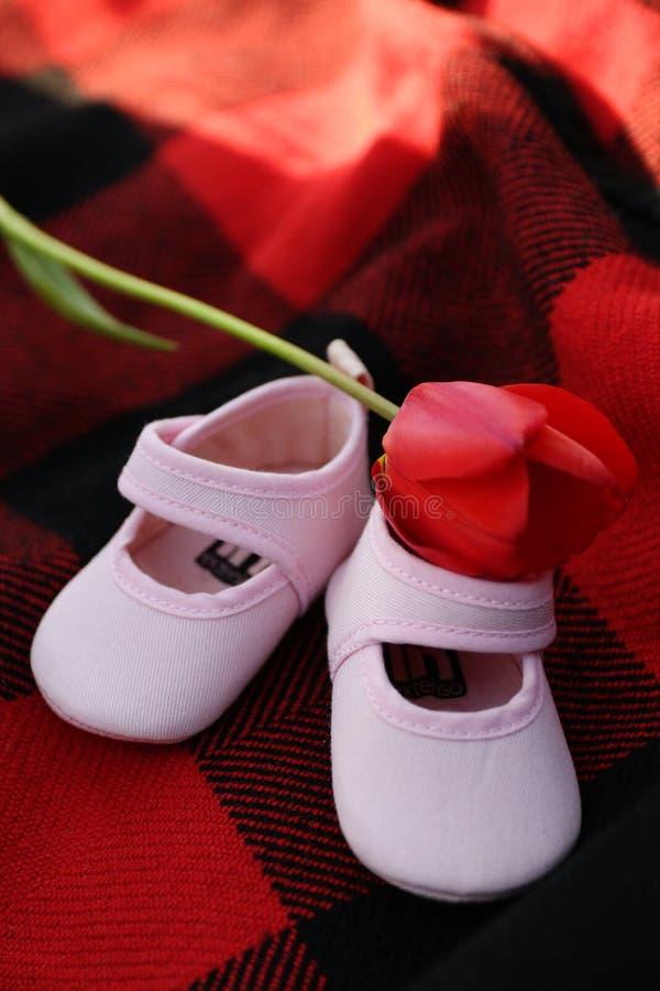 Kleine roze kinderen` s schoenen stock foto