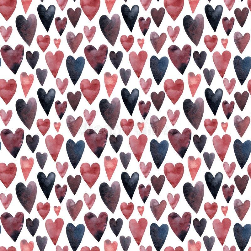 Kleine roze purpere en blauwe hartenwaterverf royalty-vrije illustratie
