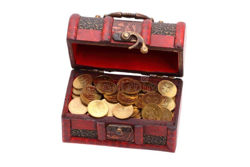 Kleine schatborst van gouden muntstukken royalty-vrije stock fotografie