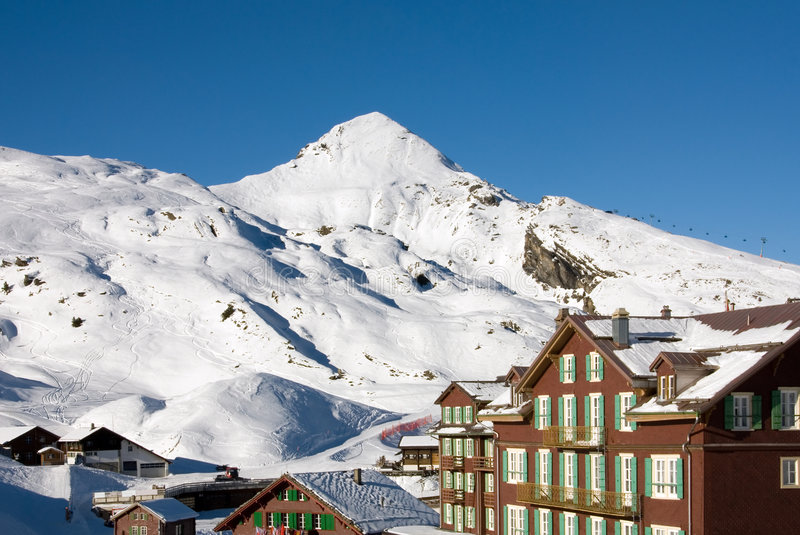 Kleine Scheidegg. Buildings in the Swiss ski resort of Kleine Scheidegg stock images