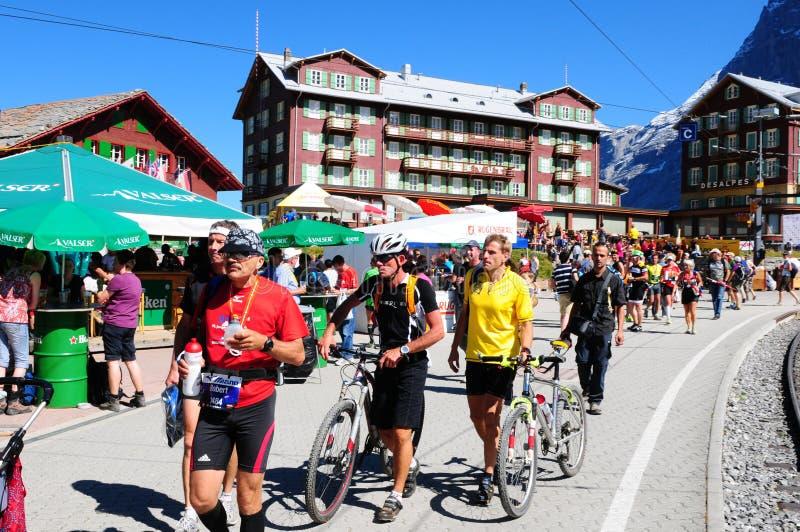 Kleine Scheidegg: El acontecimiento deportivo del Jungfrau-maratón fotos de archivo libres de regalías