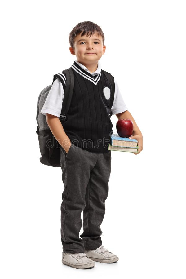 Kleine schooljongen met een rugzak royalty-vrije stock foto