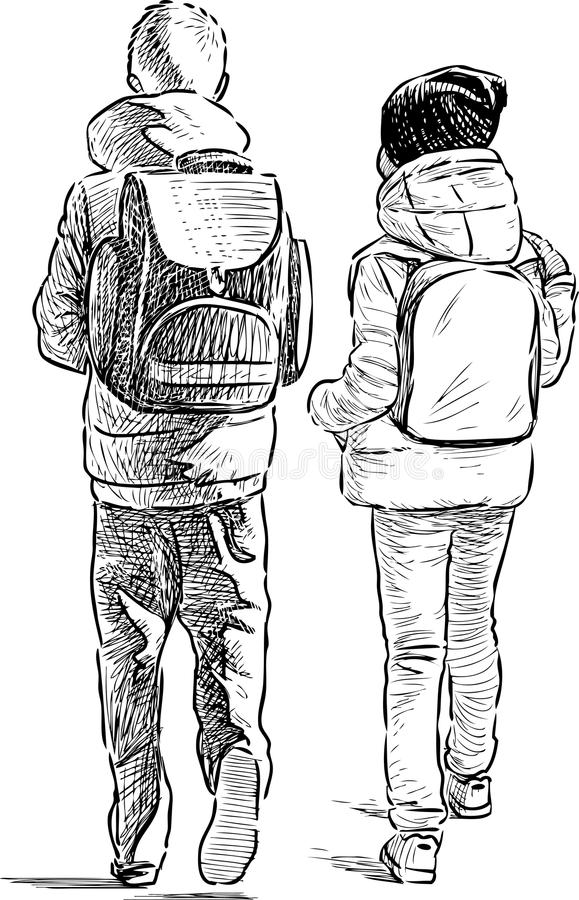 kleine schoolkinderen vector illustratie