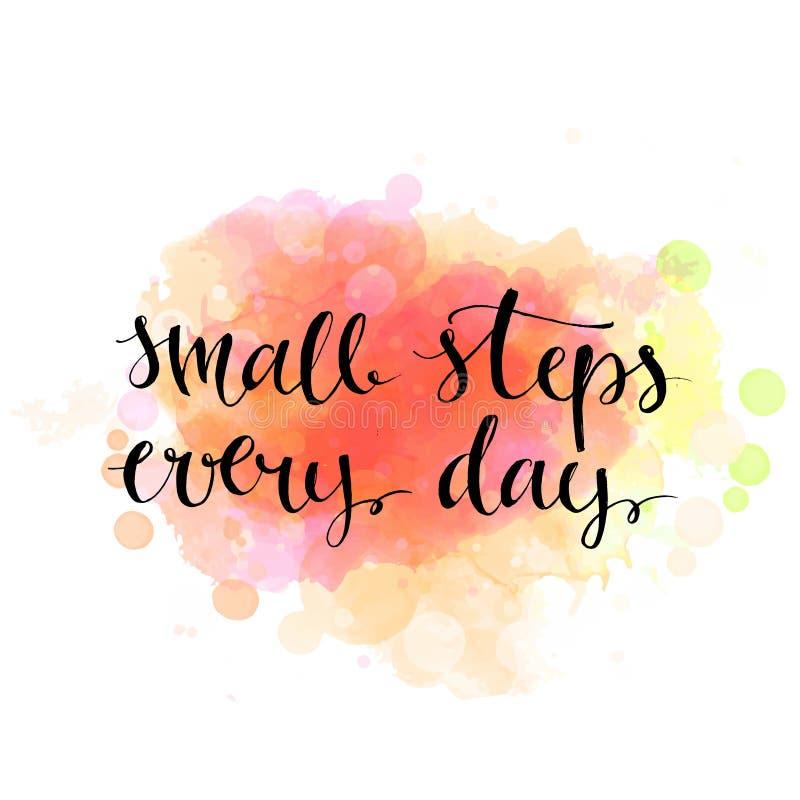 Kleine Schritte jeden Tag Schwarzes Motivationszitat an stock abbildung