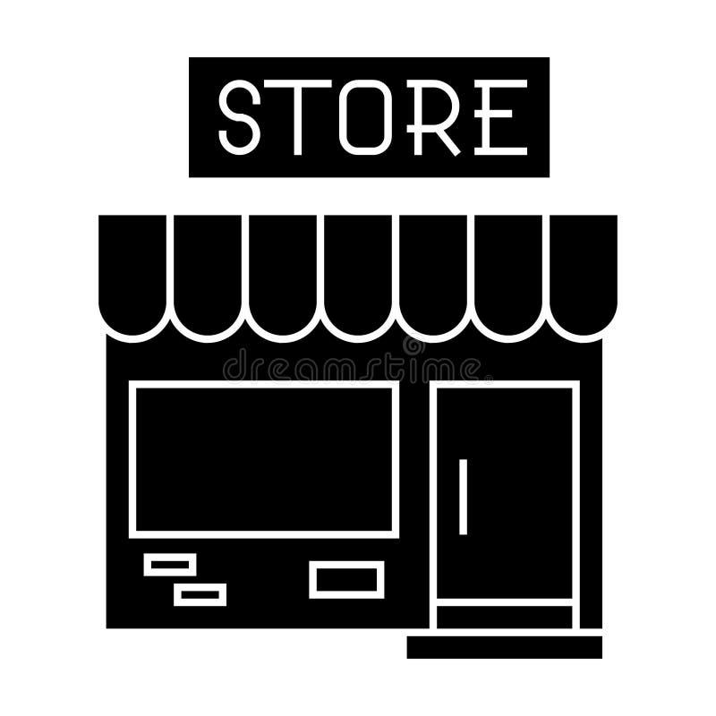 Kleine Shopikone, Vektorillustration, schwarzes Zeichen auf lokalisiertem Hintergrund stock abbildung