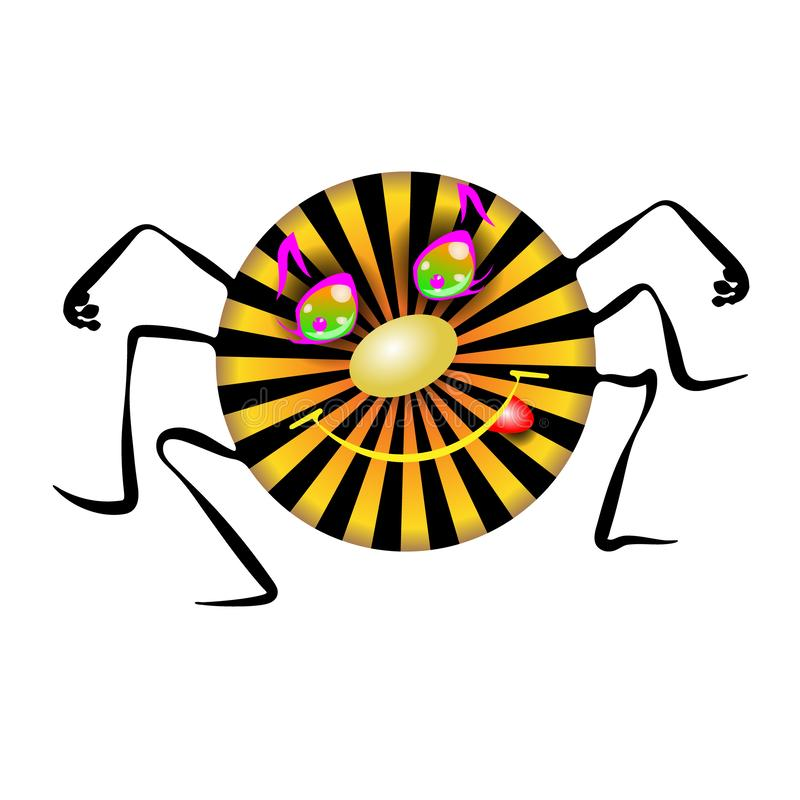Kleine sonnige Spinne Kindische Kinderreimillustration in lustigem vektor abbildung