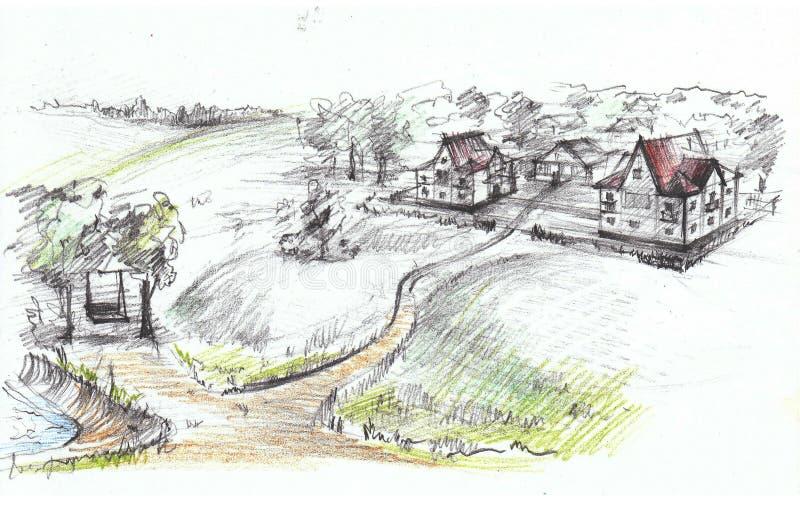 Kleine stad royalty-vrije illustratie