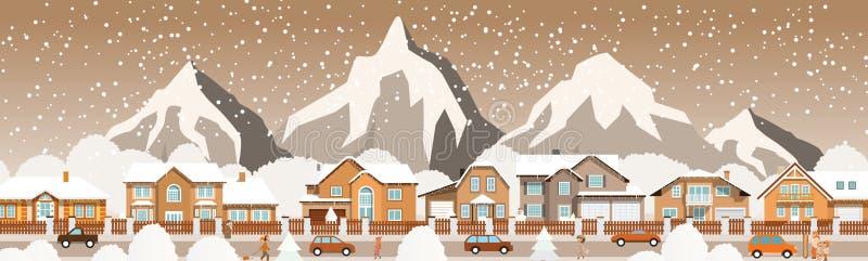 Kleine stad in de Alpen stock illustratie