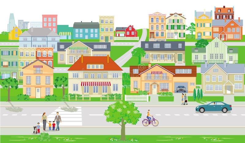 Kleine stad met verkeer en voetgangers vector illustratie