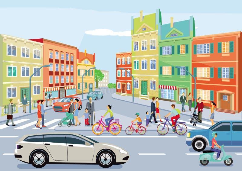 Kleine stad met verkeer en voetgangers royalty-vrije illustratie