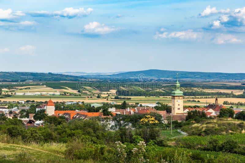 Kleine stad Retz in het gebied Weinviertel, Oostenrijk royalty-vrije stock afbeelding