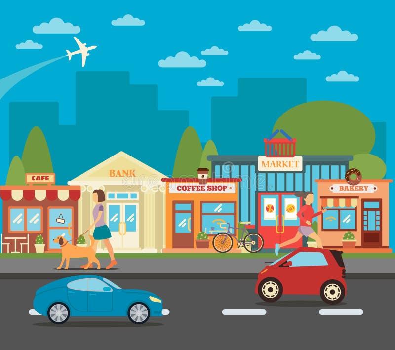 Kleine stad Stedelijke Cityscape met Winkels, Actieve Mensen en Auto's stock illustratie